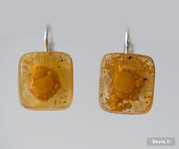 Boucles d'oreilles petits carrés - jaunes - Lenita créatrice