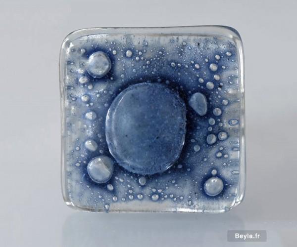 Bague verre carrée bleue - bague en verre - Lenita