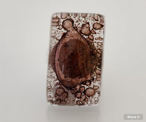 Bague rectangle en verre, création artisanale