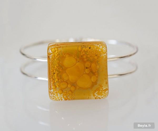 Bracelet grand carré - jaune - verre création Lenita