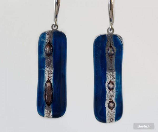 Boucles d'oreilles bleues et grises en verre