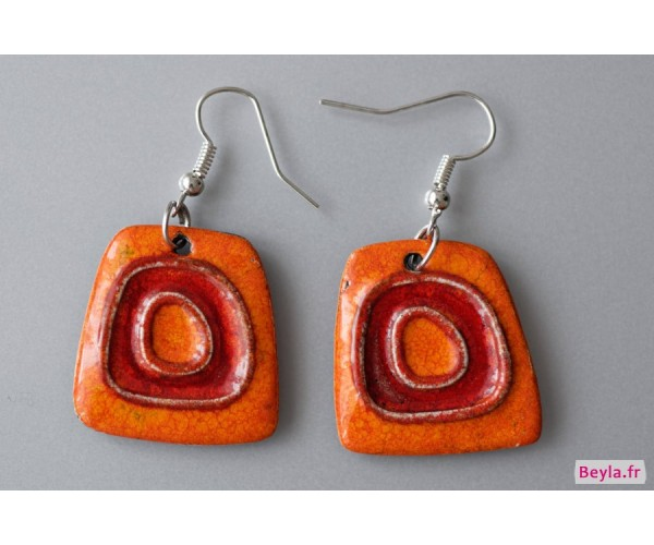 Boucles d'oreilles céramique rouges-oranges