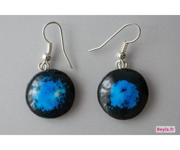 Boucles d'oreilles céramique rondes - bleues et noires