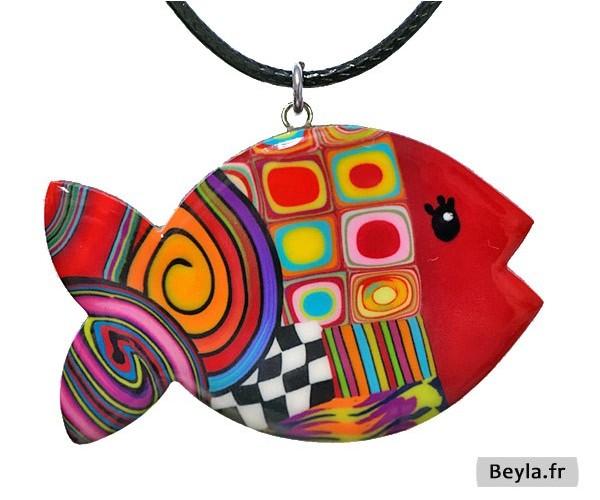 Pendentif poisson rouge multi