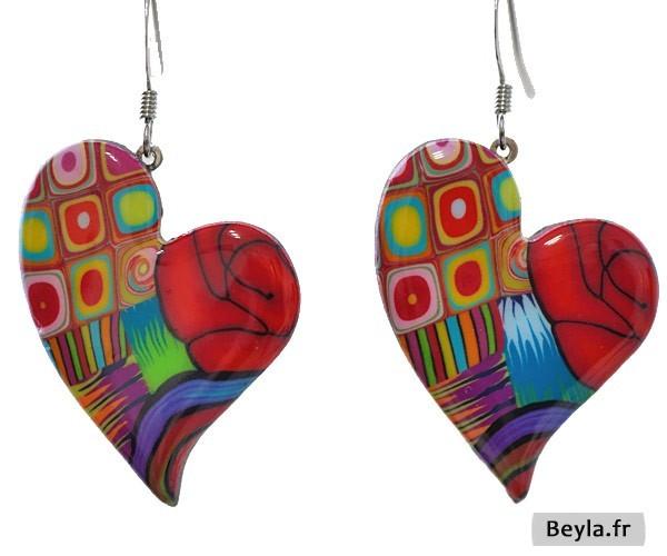 Boucles d'oreilles Coeur multicolore