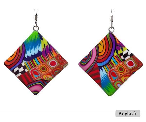 Boucles d'oreilles losange multicolore