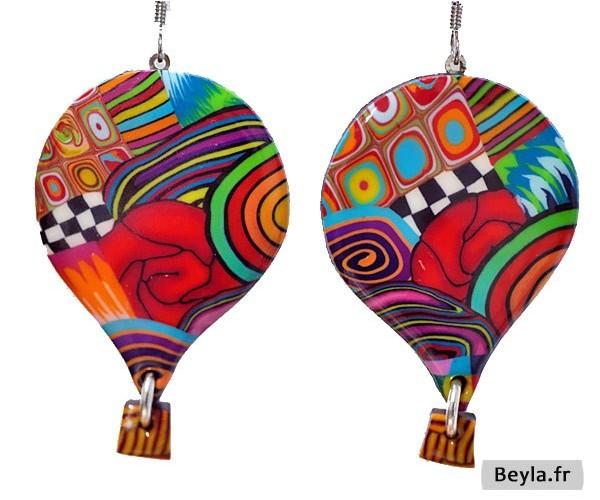 Boucles d'oreilles montgolfières