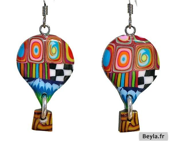 Boucles d'oreilles petites montgolfières