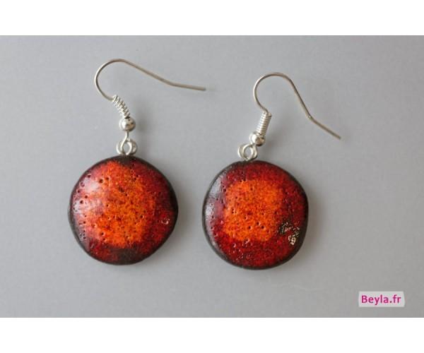 Boucles d'oreilles céramique rondes - rouges-orangées