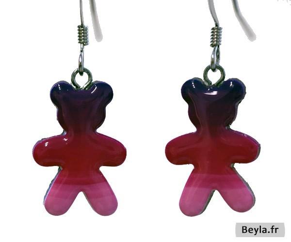 Boucles d'oreilles oursons roses - mini